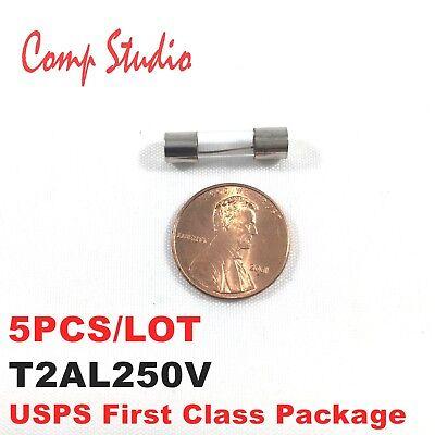 - 5pcs 2A 250V Slow Blow Fuse 2 amp Glass Tube Time-Delay Fuse 5X20mm T2AL250V