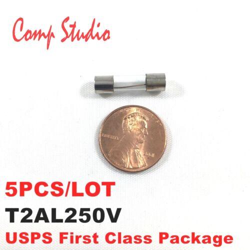 5pcs 2A 250V Slow Blow Fuse 2 amp Glass Tube Time-Delay Fuse 5X20mm T2AL250V