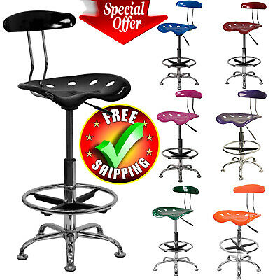 - Drafting Stool Chair Adjustable Tractor Pneumatic Chrome Bar Modern Seat