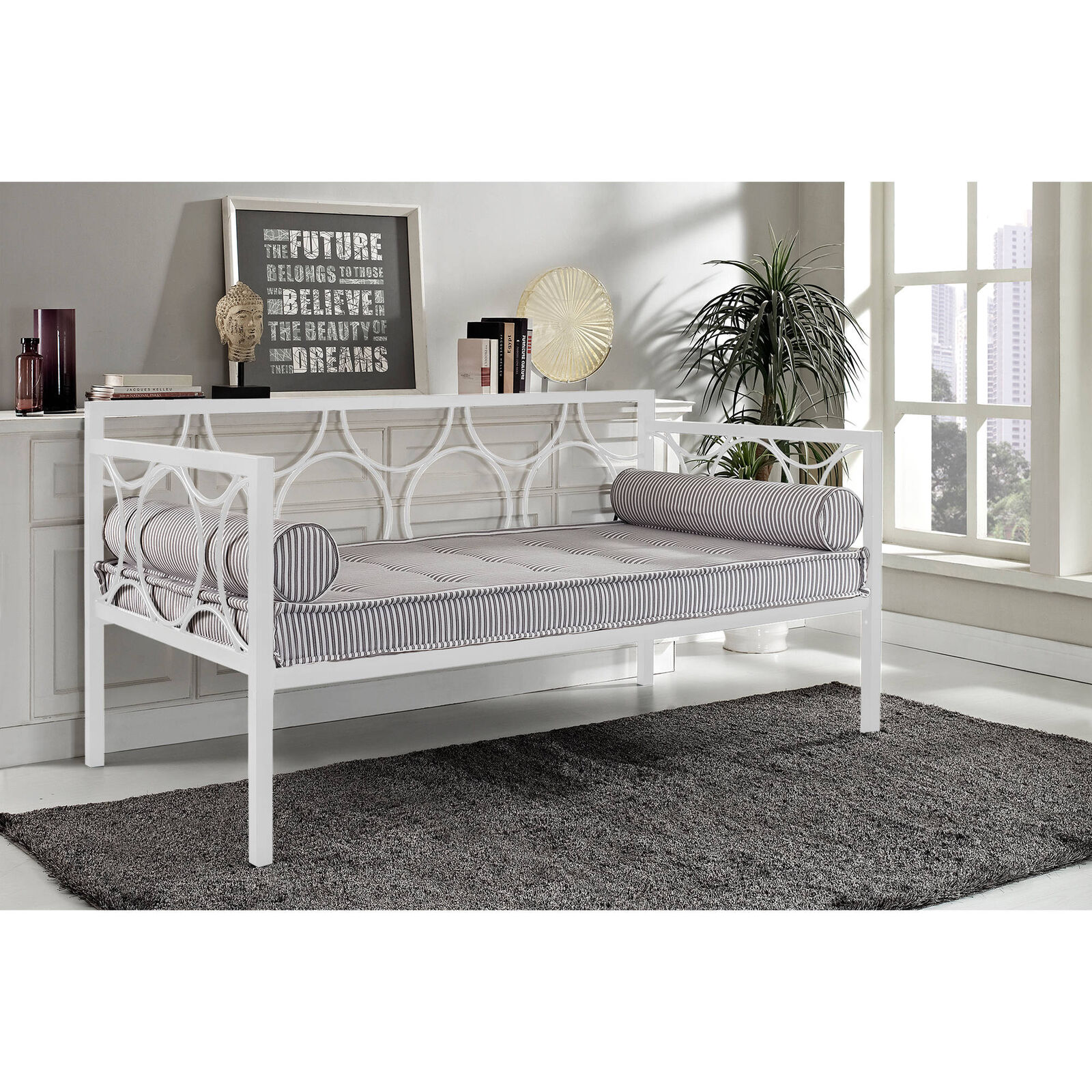 Details About White Metal Daybed Twin Size Frame Contemporary Guest Bed Bedroom Dorm Furniture