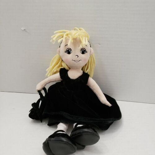 """Girls Gymboree Black Velvet Dress Bag Shoes Plush Bag Blonde Hair Doll 14"""" 2004"""