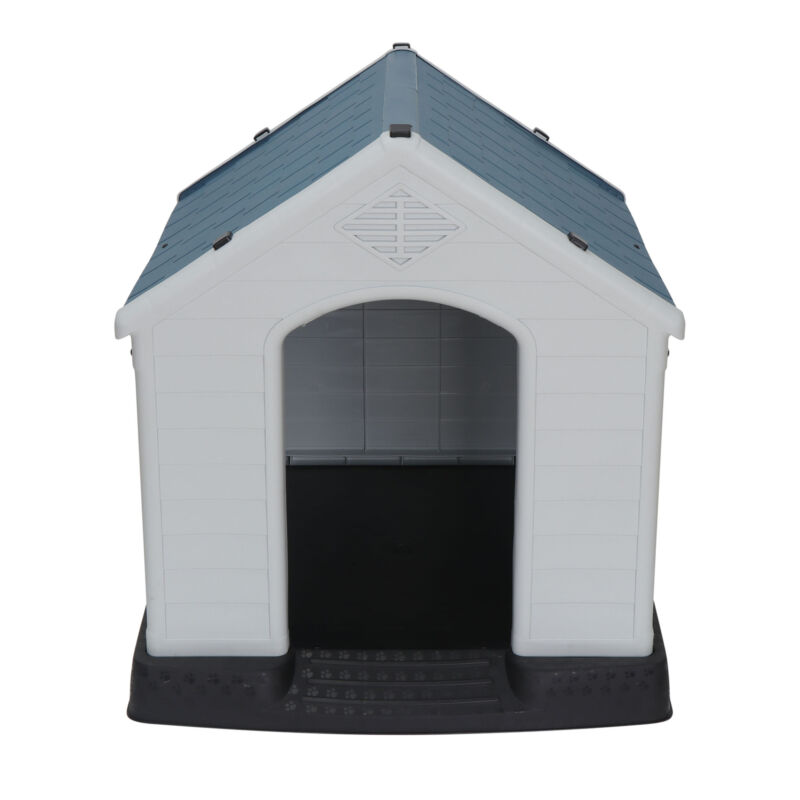 Outdoor Dog House Comfortable Cool Shelter Durable Plastic Design Home Kennel