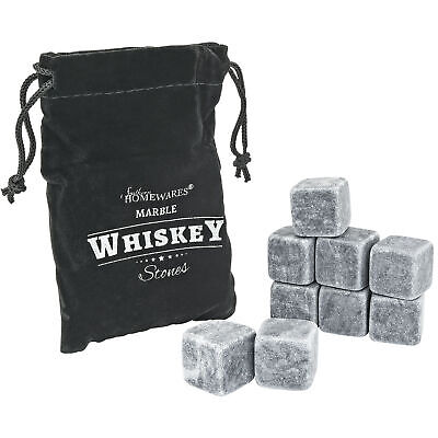 Marble Whiskey Stones Chilling Rocks Beverage Cooler Set of 9 W/ Storage Bag NEW Bar Tools & Accessories