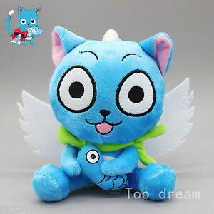 New Cute Blue Happy Cat Anime Fairy Tail Soft Plush Doll Toy 6.3