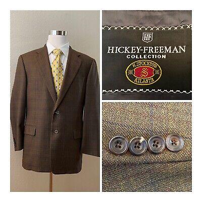 HICKEY FREEMAN Canterbury Mens 42R Jacket Brown Windowpane Plaid 100% Wool
