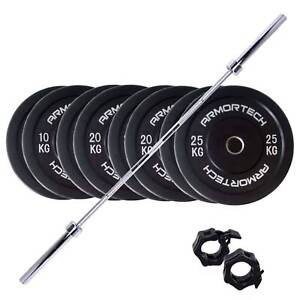 NEW 170kg Armortech Bar and Black Bumpers Package