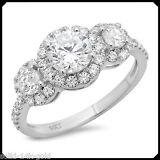 1.80CT Three Stone Cut Diamond Solid 14K White GOLD Engagement Wedding Halo Ring