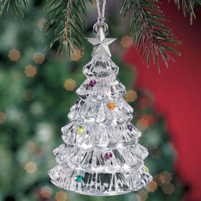 Lenox Ornament - Full Lead Crystal w/Jewels & Sterling Star-NEW-Xmas Tree