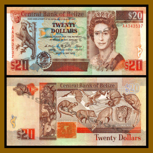 Belize 20 Dollars, 1990 P-55 Queen Elizabeth II Crisp AA Prefix, VF