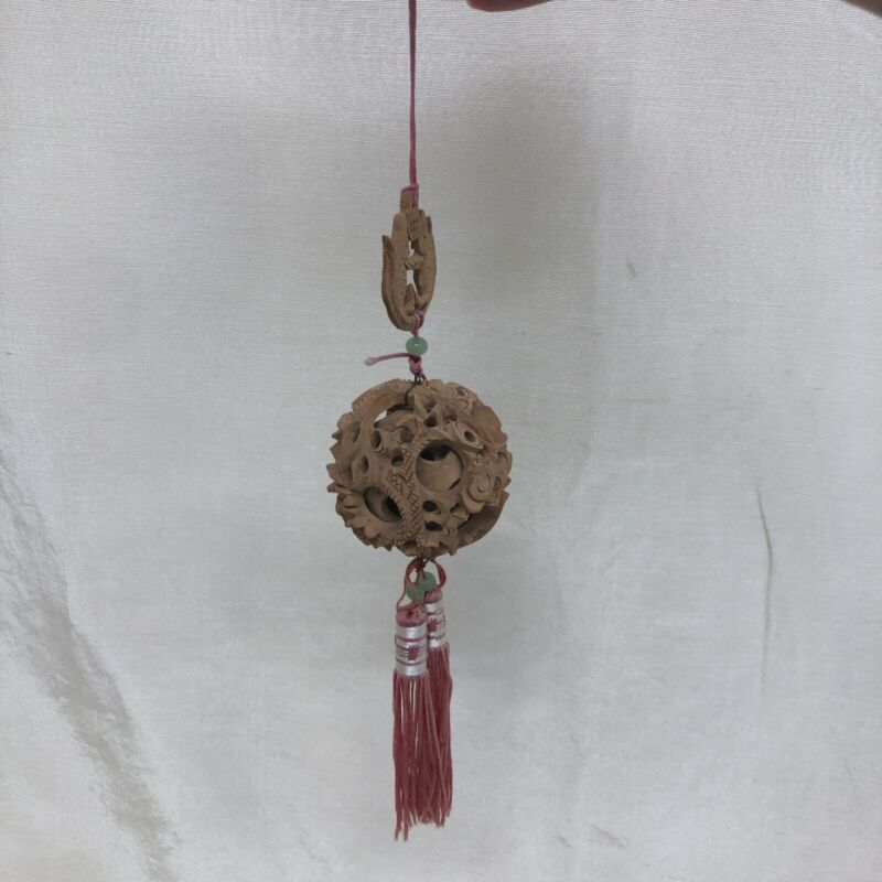vintage chinese wooden puzzle mystery ball hanging ornament jade beads W/ tasse