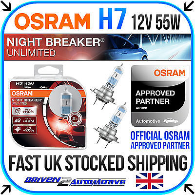 OSRAM NIGHT BREAKER UNLIMITED H7 PLUS 110% LIGHT, HEADLIGHT 2 BULB HARDCASE PACK