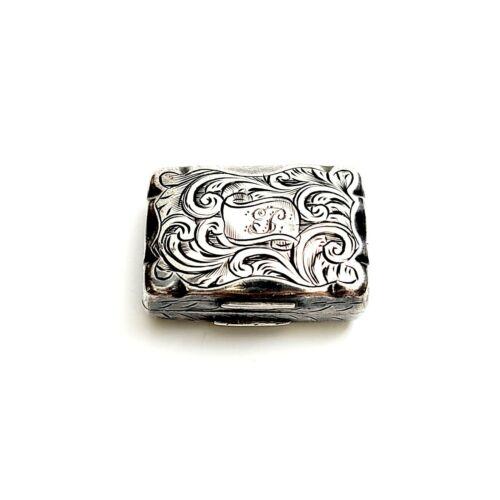 Antique English Victorian Sterling Silver Vinaigrette Box F Marson 1856 #8393