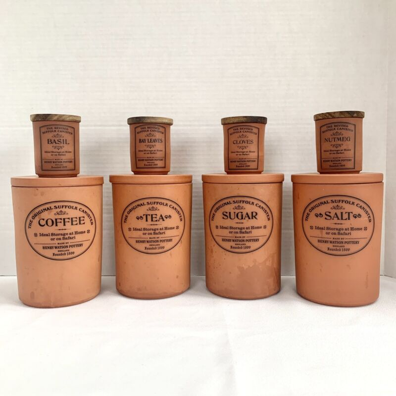 Lot of 8 Original Suffolk Canisters + Spice Jars Henry Watson Pottery Terracotta