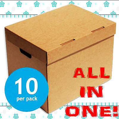 10 x A4 Filing Archive Cardboard Storage Boxes 15x12x9