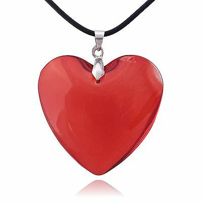 (Large Red Glass Heart Necklace)
