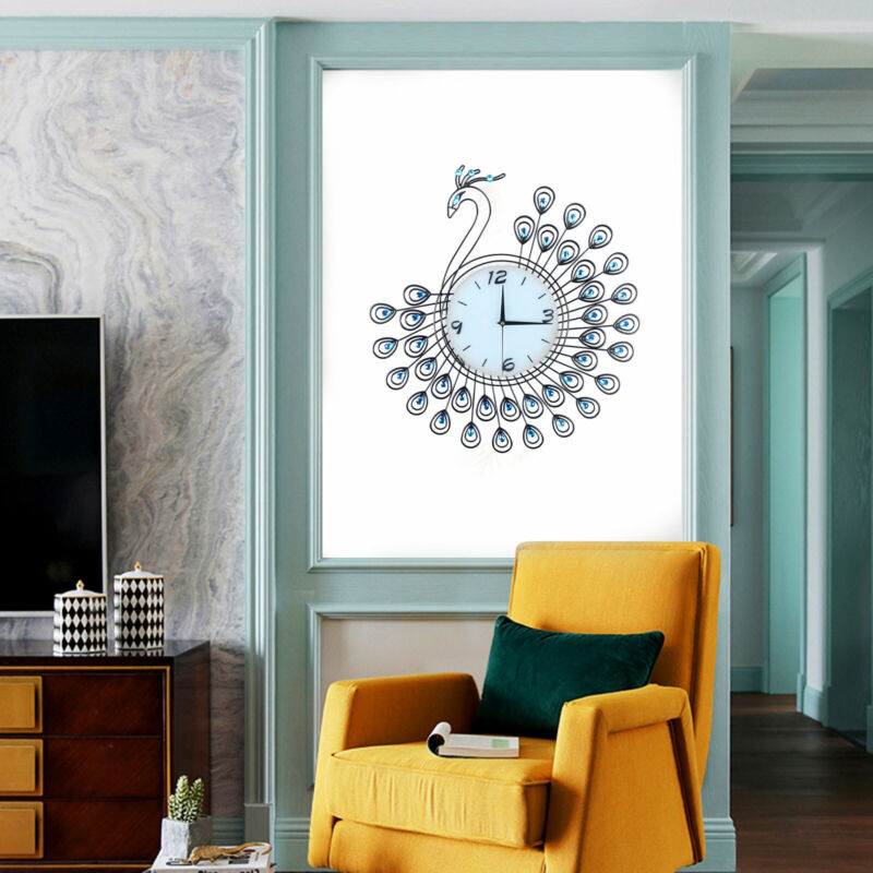 530*530mm Luxury Peacock Large Wall Clock Wall Watch Home Living Room Decor Blue