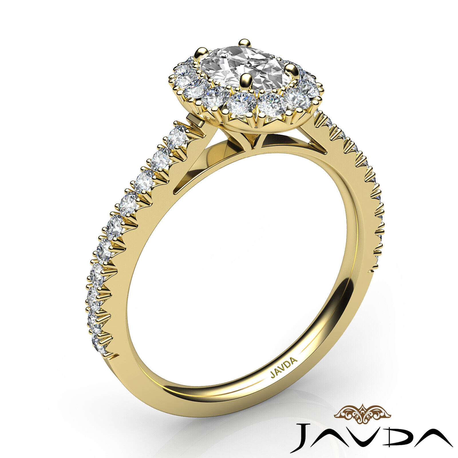 1.5ctw French V Cut Halo Pave Oval Diamond Engagement Ring GIA F-VVS2 White Gold 11