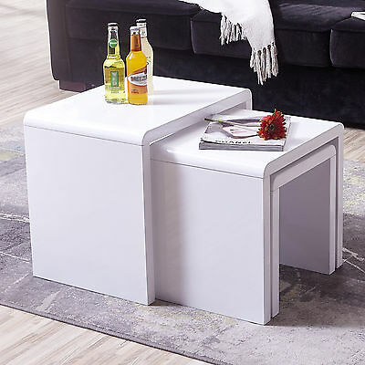 White High Gloss Nest of 3 Coffee Table Side End Tables Living Room Furniture