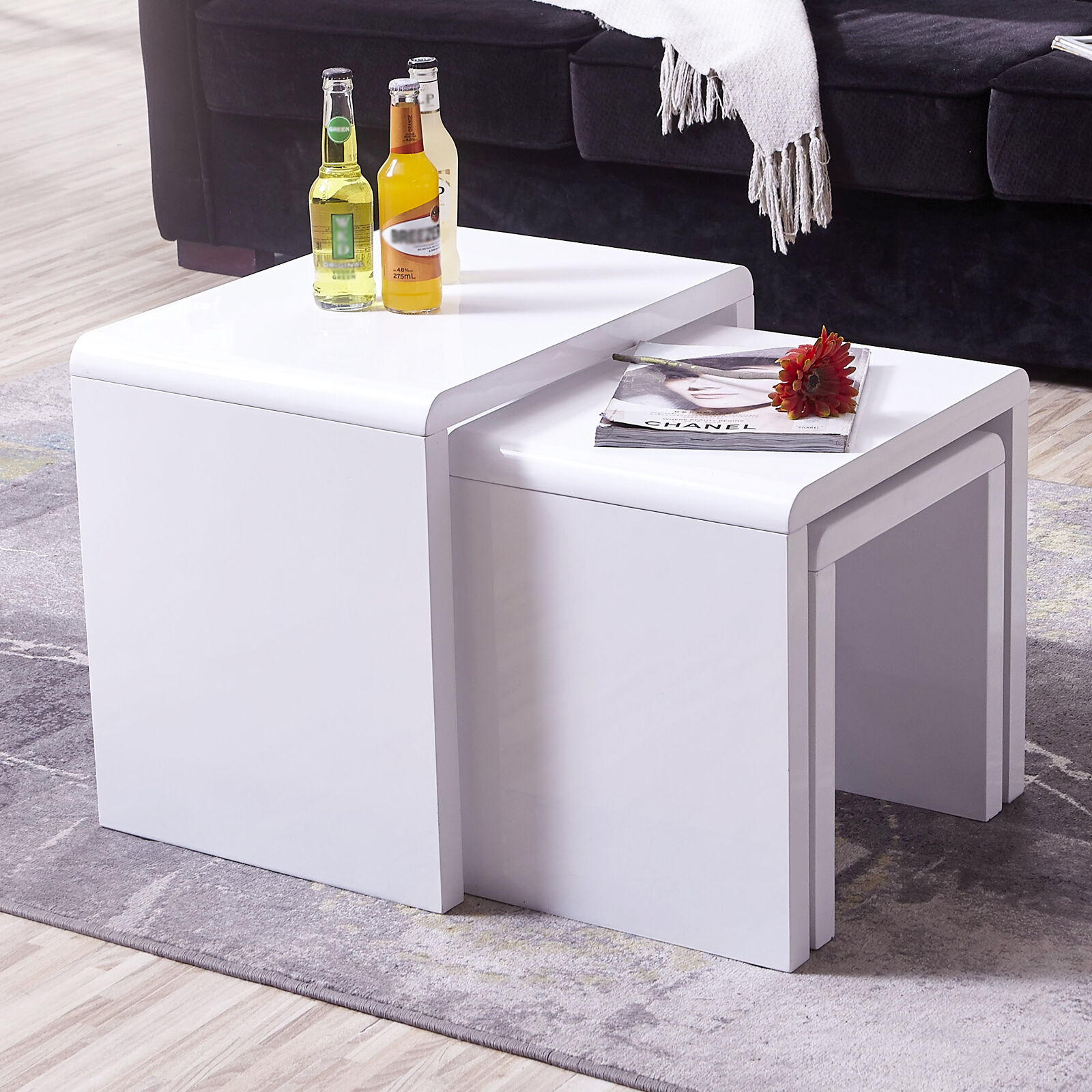 Nest of 3 Coffee Tables High Gloss White MDF Rectangle Side/End ...