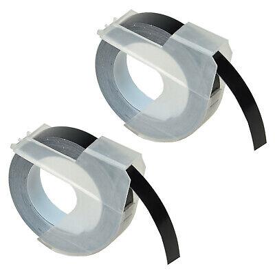 2pk For Dymo Dm1595gy 3d Embossing Label Tape 520109 White On Black 9mm
