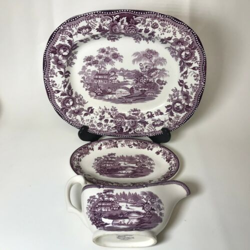 Royal Staffordshire Tonquin Purple Platter & Gravy boat & Underpalte