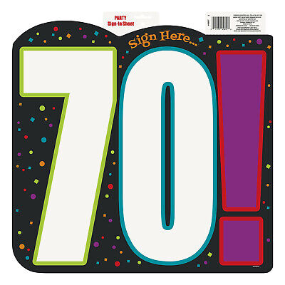 70! Happy 70th Birthday Cheer Party Sign In Sheet Cutout Decoration
