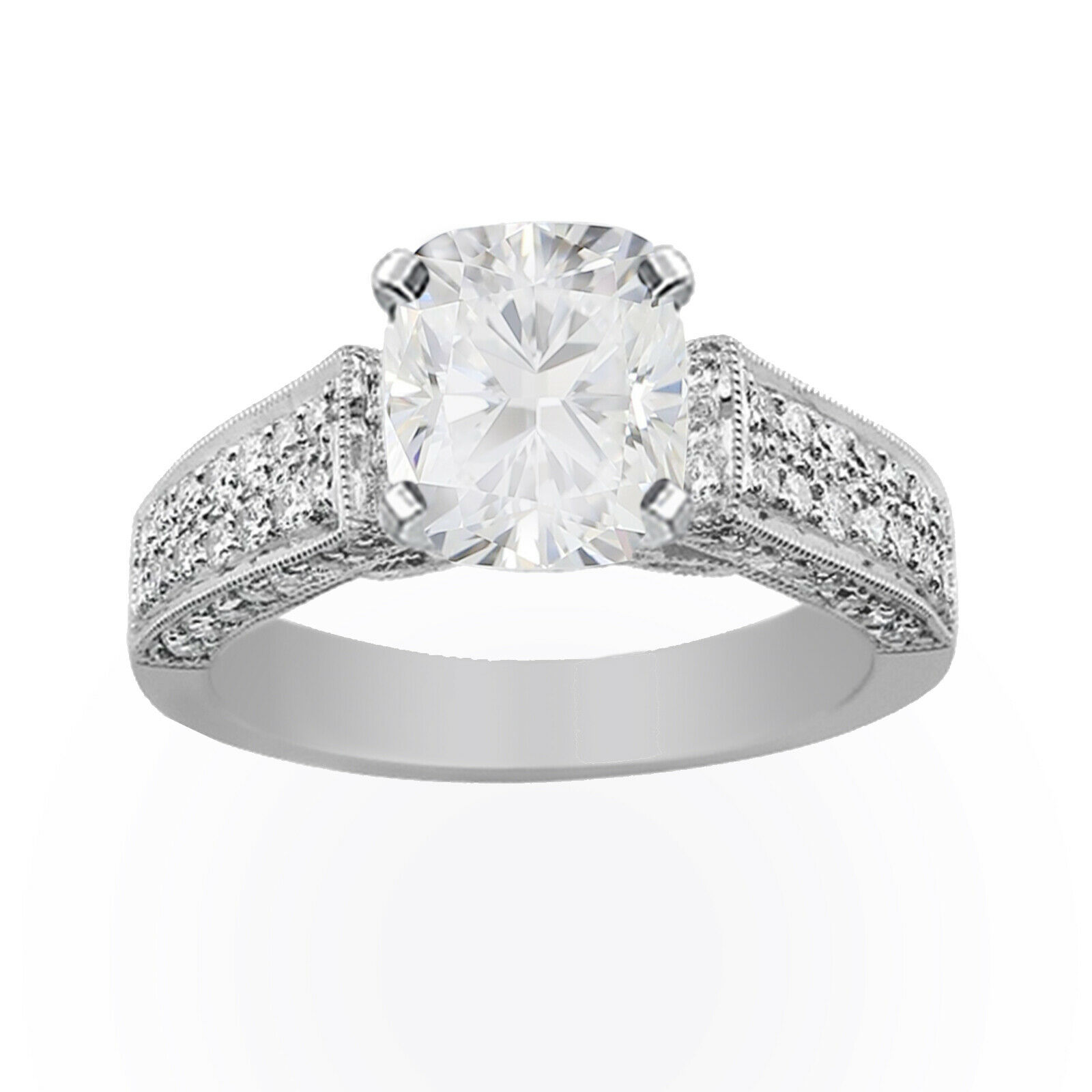 GIA Certified Diamond Engagement Ring 14k White Gold 2.58 carat Natural Cushion