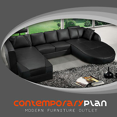 (Ultra Contemporary All Black Italian Leather Sectional Sofa with Curved Chaise )