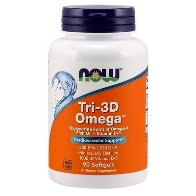 NOW Foods Tri-3D Omega, 1000 mg, 90 Softgels