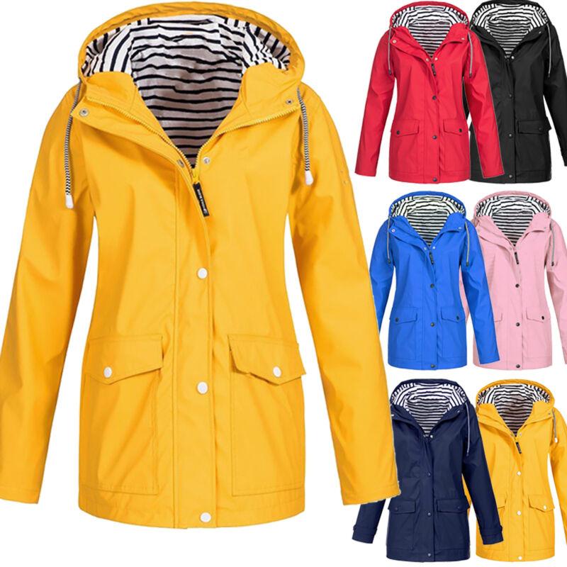 Damen Outdoor Jacken Wasserdicht Unifarbe Langarm Regenjacke Wandern Regenmantel