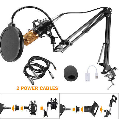 BM800 Condenser Microphone Kit Studio Pro Audio Recording Arm Stand Shock Mount
