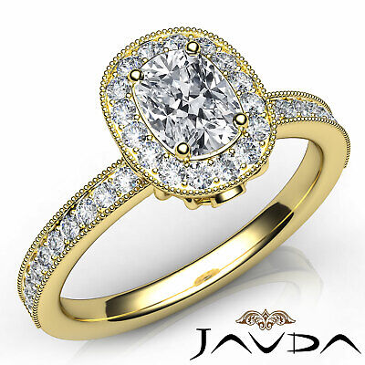 Milgrain Halo Pave Bezel Set Cushion Diamond Engagement Ring GIA G Color VS2 1Ct 7