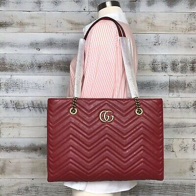 Gucci Red Calfskin Medium Matelasse GG Marmont Should Bag Tote 524578 Vintage