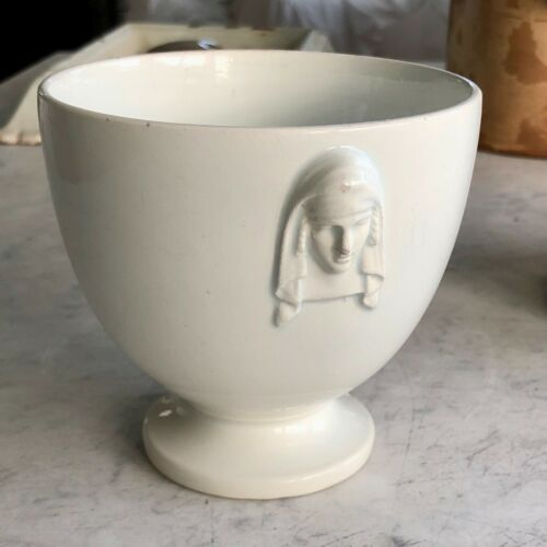 Antique French White Ironstone Earthenware Sugar Bowl with Faces