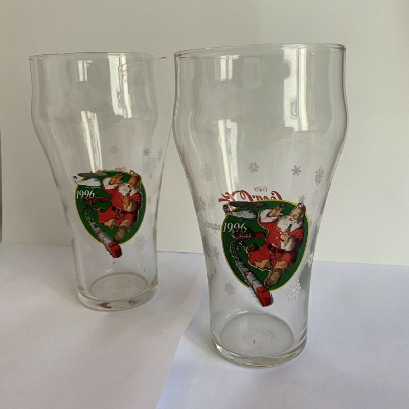 TWO - Coke Coca-cola Christmas 1996 Santa Claus with train set glasses glass
