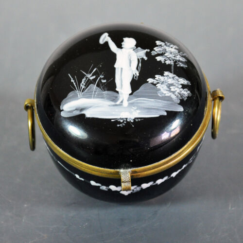 Small Black Mary Gregory Glass Dresser or Trinket Jar - Beautifully Rendered