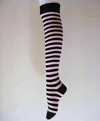 SEXY THIGH HIGHS BLACK WITH PINK STRIPED OVER THE KNEE COTTON SOCKS  - Thigh High Socks With Stripes