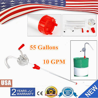 55 Gallons Priming Rotary Hand Oil Pump Fuel Barrel Drum Syphon Transfer Tool Us