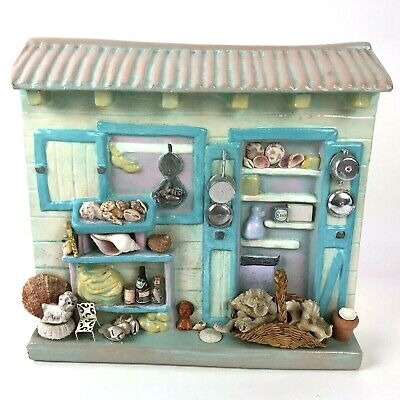Mixed Media Ceramic Art Beach Shells Puppy Cottage Chic Handmade Orval Blue 3D