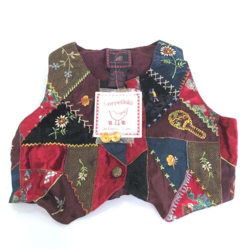 NWT Cornelloki for Cornell Trading Crazy Quilt Velvet Patchwork Vest Size 2 Kids