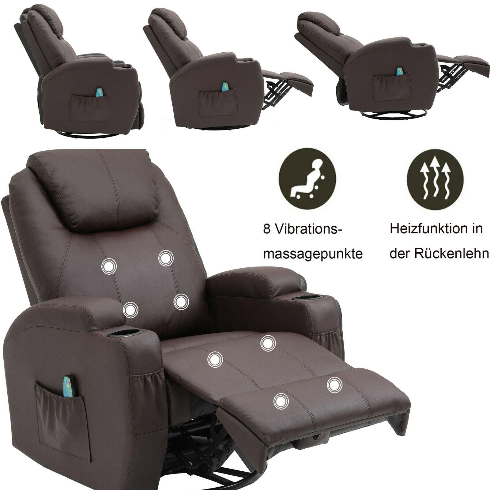 Massagesessel Fernsehsessel Relaxsessel Wärmefunktion 360°drehbar Fernbedienung