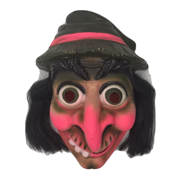 Bayshore Ind. 1970s Halloween Mask Blow Mold Plastic Creepy/Scary w/Hair France