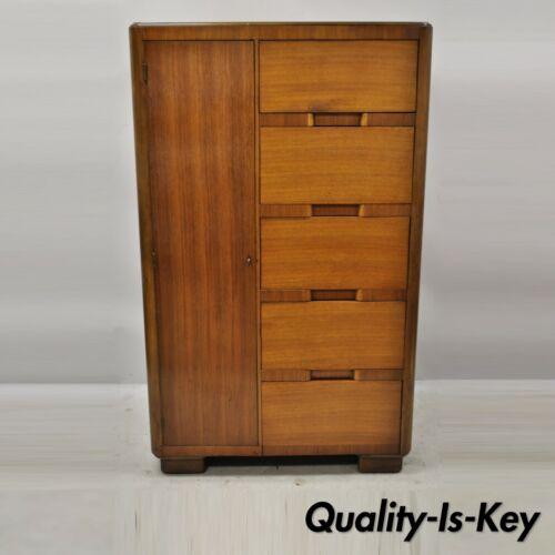 Kling Factories Waterfall Art Deco Armoire Mahogany Dresser Cedar Lined Wardrobe