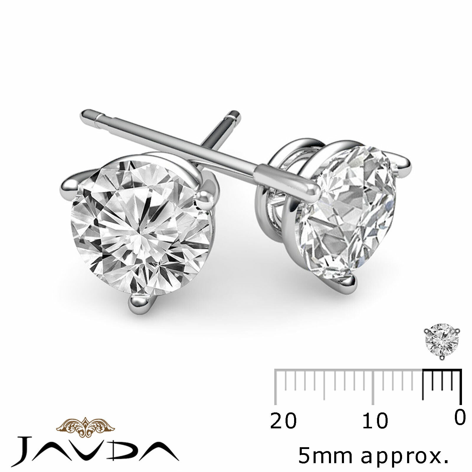3 Prong Double Wire 100% Natural Round Diamond 1 Pair Stud Earrings 0.60 ctw.
