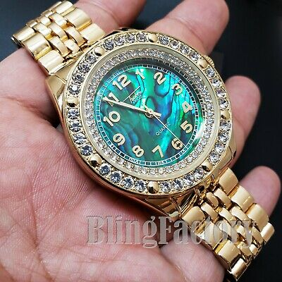 HIP HOP ICED BUST DOWN GREEN MOTHER OF PEARL DIAL METAL BAND FASHION WATCH