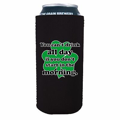 Pint 16 Oz (Drink All Day Funny 16 oz Neoprene Pint Can Coolie; Beer, Start, Morning,)