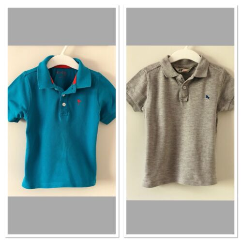 2x Polo Hemd Shirt H&M Tchibo Baby Kinder Jungen grau türkis blau Gr. 98/104