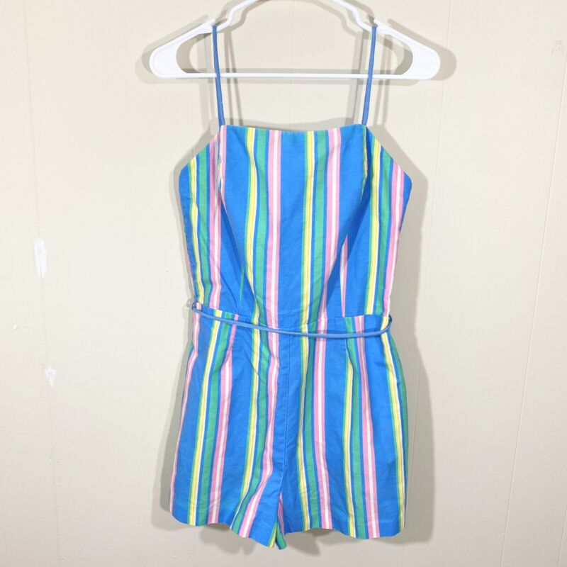 Vintage Sea Waves Size 12 Playsuit Romper Multicolor Striped One Piece Belted