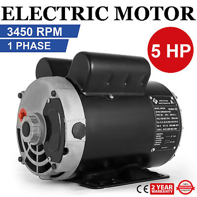 Vevor Cm05256 5 Hp 3450 Rpm Electric Motor 1-ph 230 Volt Fits Air Compressor