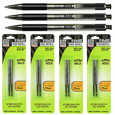 Zebra F-301 Bold 1.6mm Black Ink 3 Pens With 4 Packs Of Refills